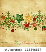 Vintage Christmas card with snowflakes and stars, holiday design - stock vector