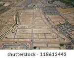 Aerial view of Infrastructure for housing development - stock photo