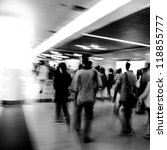 city business people abstract blur motion,  passenger walk at subway station black and white - stock photo