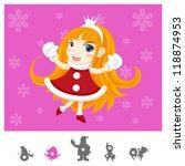 Colorful Characters Christmas : Santa Girl - stock vector
