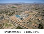 Water Treatment Facility Expansion under sunny skies - stock photo