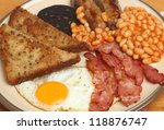 Full English fried breakfast - stock photo
