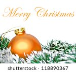 Orange christmas ornament ball with wreath isolated on white - stock photo
