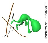 Side view green puppet craching on ski gliding - stock photo