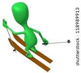 Behind view green puppet ski on white snow - stock photo
