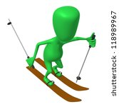 Over view green puppet ski on white snow - stock photo
