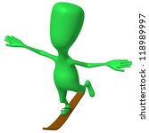 Angle view green puppet glide on one ski - stock photo