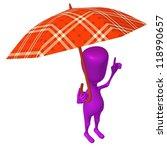 Angle view puppet hold squared umbrella under rain - stock photo