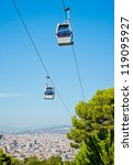 Cablecar over Barcelona, Spain - stock photo