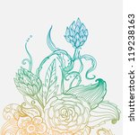 Romantic color hand drawn floral card for holiday design - stock photo
