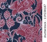 Seamless dark floral background, hand drawn illustration for design - stock photo