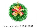 Green christmas wreath with golden bells. - stock photo