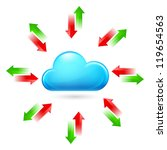 Cloud with Arrows. Illustration on white background - stock vector
