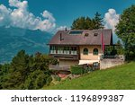 Vaduz., Liechtenstein, 20th August 2018:- View of a house in the Alpine Principality of Liechtenstein - stock photo
