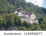 Vaduz, Liechtenstein, 16th August 2018:- Vaduz castle overlooking central Vaduz, home to the Prince of Liechtenstein - stock photo