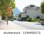 Vaduz, Liechtenstein, 16th August 2018:- A street in Vaduz the Capital of liechtenstein the 4th smallest country in Europe - stock photo