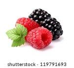 Raspberry with blackberry - stock photo