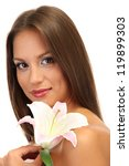 beautiful young woman with lily, isolated on white - stock photo