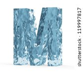 Water Alphabet isolated on white background (Letter M) - stock photo