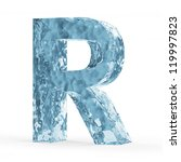 Water Alphabet isolated on white background (Letter R) - stock photo
