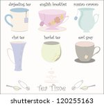 Collection of 6 vector teacups in cute vector style - stock photo