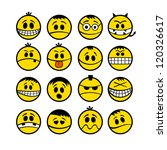 Funny yellow vector emoticons. - stock vector