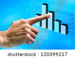 Female hand pointing at financial graphic in futuristic interface. - stock photo