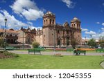 The main plaza and cathedral in Cusco, Peru, former Inca capital - stock photo