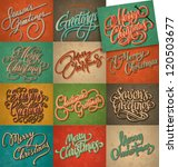 set of 12 Christmas retro cards, vector; all texts are hand-lettered - handmade calligraphy; grunge effect in separate layer; - stock vector