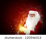 father Christmas carrying presents in his sack - stock photo