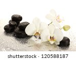 Spa stones and orchid flowers, isolated on white - stock photo