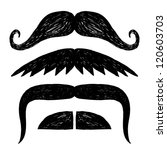 Set of hand drawn mustache. - stock vector