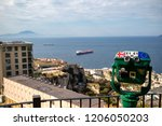 Gibraltar, United Kingdom, 1st October 2018:- Europa Point, seen from the Rock of Gibraltar and coin operated telescope. Gibraltar is a British Overseas Territory located on the southern tip of Spain. - stock photo