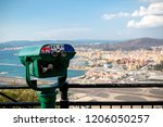 Gibraltar, United Kingdom, 1st October 2018:- View from the top of the Rock  into Spain, with a coin operated telescope. Gibraltar is a British Overseas Territory located on the southern tip of Spain. - stock photo