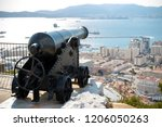 Gibraltar, United Kingdom, 1st October 2018:- Canons on the Rock of Gibraltar. Gibraltar is a British Overseas Territory located on the southern tip of Spain. - stock photo