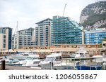 Gibraltar, United Kingdom, 30th September 2018:- Gibraltar Marina. Gibraltar is a British Overseas Territory located on the southern tip of Spain - stock photo