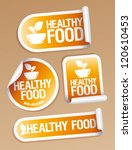 Healthy Food stickers set. - stock vector