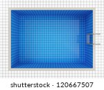 Empty Swimming Pool Top View - stock photo