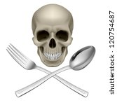 Human Skull with a Spoon and Fork. Illustration for design - stock vector
