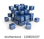 Assemble or destruction cubes. 3D Illustration isolated on white - stock photo