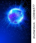 Sparkling Disco Ball on Blue Light Burst - stock vector