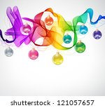 New year abstract background with colorful balls and wave - stock photo