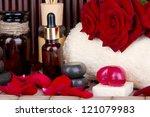 Beautiful spa setting on bamboo background - stock photo