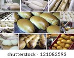 Production of bread at the bakery - stock photo