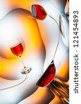 Distorted glass of wine - stock photo