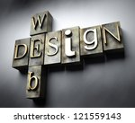 Web design concept, 3d vintage letterpress text - stock photo