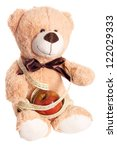 Teddy Bear with Apple and Measure Tape / Diet - stock photo