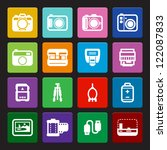 Camera Icons and Camera Accessories Icons : Colorful Style - stock vector