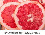Red Grapefruit Portion. Nature background - stock photo