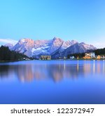 Blue reflection of lake Misurina, Italy - stock photo